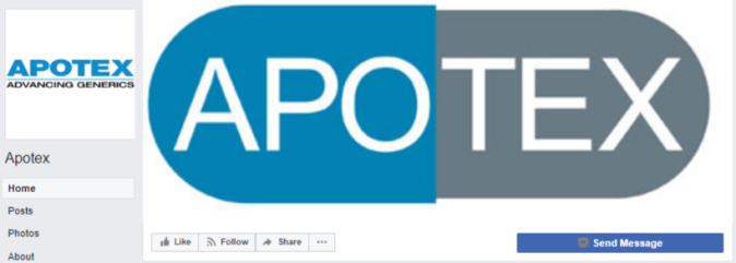 FB cover - Apotex - now defunct page - looks official