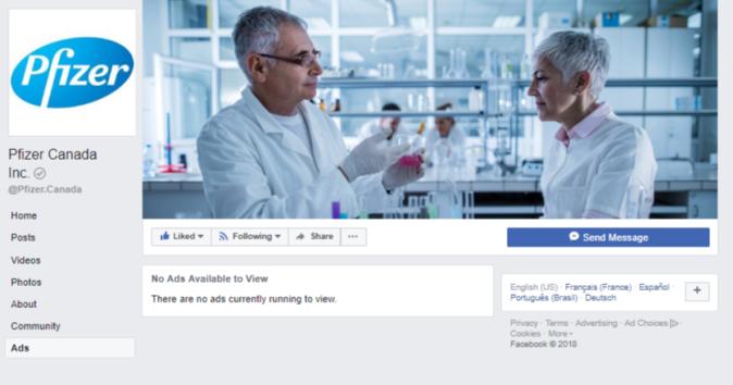 Pfizer Canada Facebook page