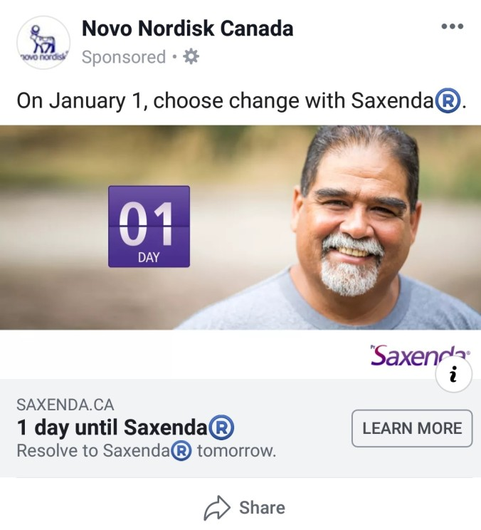 Saxenda - new year countdown - 1 day